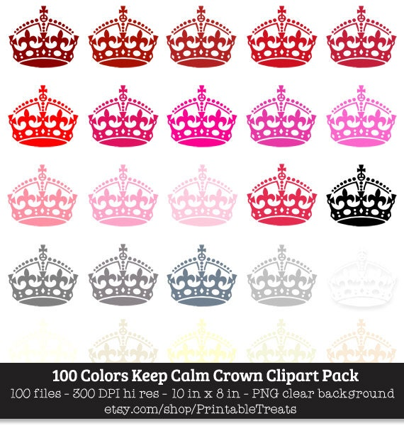 100 Colors Keep Calm Crown Clipart Commercial Use