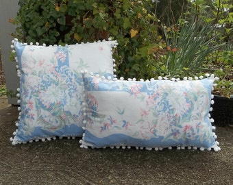 Vintage Tablecloth Pillows Repurposed Mid Century Table Cloth Cottage Style Home Decor Porch Decor Set of 2