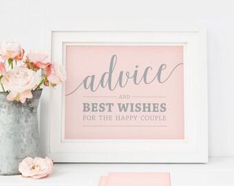 Printable Advice Sign and Advice Cards Wedding // Pink Advice Sign, Printable Advice Cards, Advice for Newlyweds