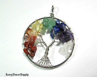 Tree of Life Chakra Pendant, Wire Wrapped Pendant, Gemstone Pendants, Semi Precious Stone, Yoga Pendant, Reiki