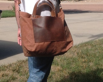 Waxed Canvas Leather Tote Men Bag Commuter Bag Leather Detachable Leather Strap- Weekender
