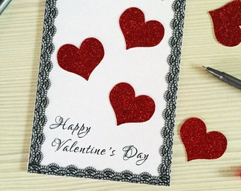 Valentine's Day Card with Glitters,  Valentine's Day, Handmade Greetings Card