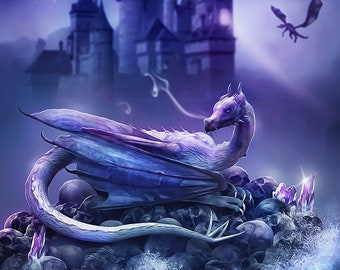 Dragon artwork, dragon painting, purple dragon, castle,purple artwork, skulls, crystals, fantasy dragon art, dragon decor, dragon wall art