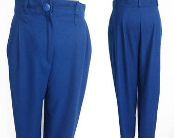 Vintage Blue Pants / Wool Trousers / High Waisted Pants