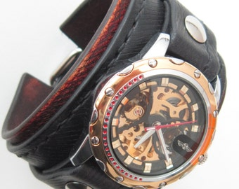 Men's Steampunk Watch, Leather Bracelet