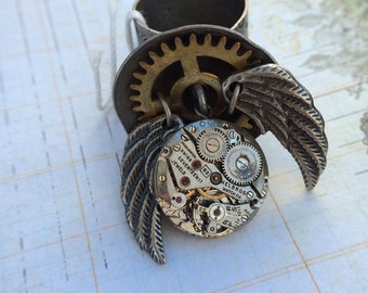 Watch movement wings steampunk ring  Handcrafted artistic jewelry -The Victorian Magpie