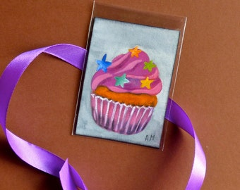 ACEO oil painting, Cupcakes, Original ACEO, Cupcakes, mini painting, Original art, Cupcakes painting, Original oil painting, Art card