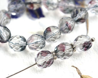 8mm round beads, Crystal clear, Purple, Grey, Czech glass beads, fire polished, faceted beads - 15Pc - 2706