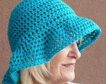 Women's chemo hat in turquoise cotton, soft and comfortable with a brim, great sun hat,  unique crochet hat with class, free shipping USA