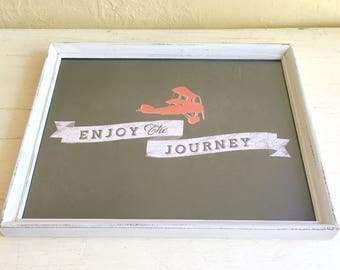 """Picture Frame Quote 8x10  """"Enjoy the journey"""" Saying Statement Sign Print in Shabby Chic White Framed Wall Hanging"""