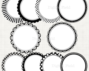 Black&white scalloped circle frames borders clip art set  - printable digital clipart - instant download