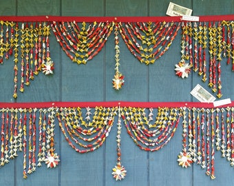 "Double Fancy Royale - set 45""  and 50"" :  This origami  valence is whimsical and festive, Colorful up-cycled materials. Fairly traded."