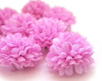 Lavender Lilac Pom Pom Carnations - 25 count - Artificial Flowers, Silk Flowers
