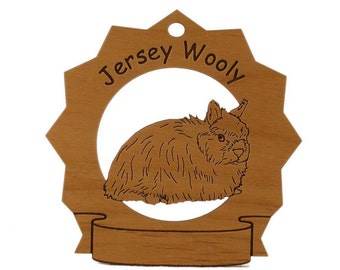 Jersey Wooly Rabbit  Personalized Wood Ornament