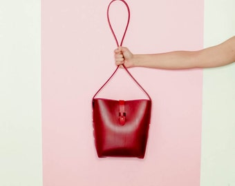 Red Leather Stud Bucket Bag. Minimal Crossbody bag. Italian vegetable tanned leather