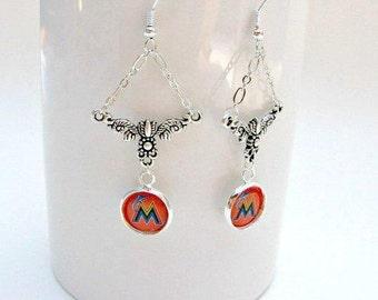 Florida Marlins Earrings, Baseball Jewelry, Marlins Earrings, Marlins Jewelry, Miami Marlins Accessories, Baseball Earrings, Baseball Mom,