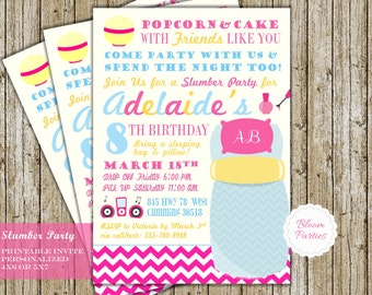 slumber party invite sleepover birthday invitation girls sleepover sleepover party sleepover invites digital printable