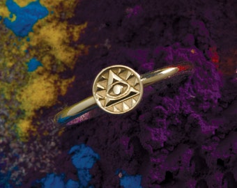 Solid Gold Eye of Providence Stackable Ring - Egyptian Jewelry. 14k, 18k Yellow, Rose, White Gold & Platinum. Spiritual Gift Ideas for Her