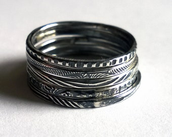 Stacking Rings/ Silver Stacking Rings/ Silver Antiqued Stacking Rings/ Textured Stacking Rings/ Rustic Rings