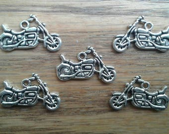 Motorcycle Charm Pendant Antique Silver Tone x 5
