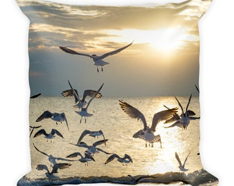 Seagull Pillow, Bird Lover Gift, Beach Sunset, Flying in Silhouette, Animal Throw, Nature Photo Decor, Relaxing Lake Life Toss, Him and Her