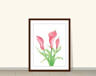 Calla Lilies Painting, Calla Lily Giclee Print, Calla Lily Watercolor, Calla Lily Watercolor Painting, Flower Wall Decor, lily watercolor