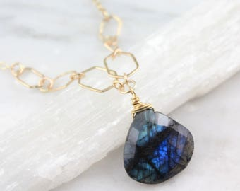 Spectrolite and Gold Hexagon Chain Necklace