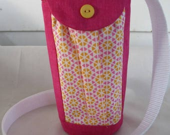 Water Bottle Holder Sling//Walkers Insulated Water Bottle Cross Body Bag// Hikers Water Bag-Bright Pink with Yellow Fabric