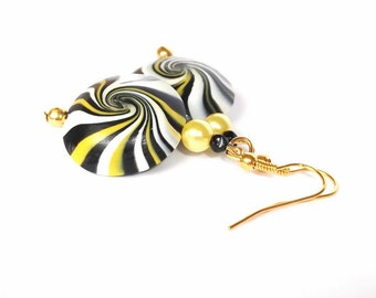 Bee Earrings Gold ( swirl beads earrings fun women girls handmade polymer clay swirl beads )