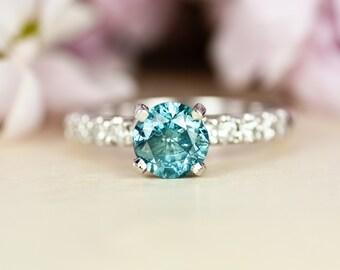 Blue Diamond Engagement Ring, 1 ct Diamond Ring, Round Diamond, Conflict Free Diamond, Solitaire, 14k white gold, Unique, diamond band
