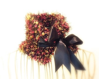Black Cowl,  Neckwarmer, Knitted Multicolor Pink, Gold, Black Cozy Scarflette, Satin Ribbon Bow Tie
