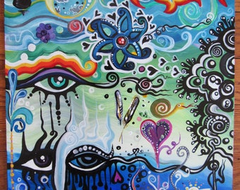 "Original Painting ""The Stigma of Enigma""  11"" x 14"" Acrylic on board twilightdance OOAK"