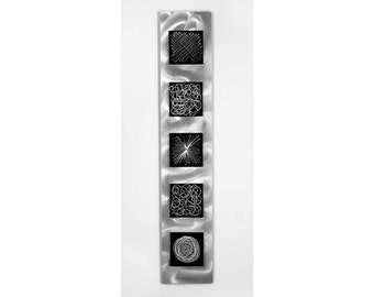 Silver & Black Contemporary Metal Wall Accent - Embellished Etched Abstract Metal Art - Home Wall Sculpture - Midnight Storm by Jon Allen