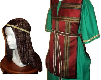 Nativity Christmas Pageant Wiseman Costume -  Tunic, Headdress, 3 Kings - Green