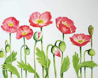 Red Poppies Watercolor Painting Art/Red Poppy Original Art/ Red Poppy Painting/Field Poppy Art/Original Artwork/Original Watercolor/9x12 in
