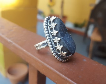 Agate druzy sterling ring