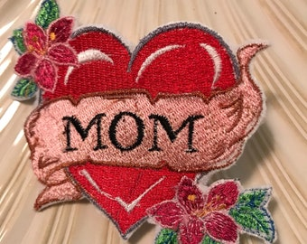 Brooch embroidery tatto heart mom