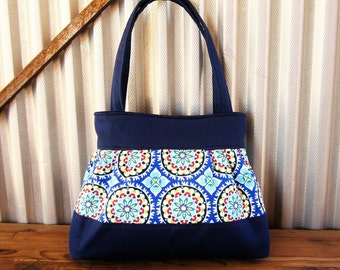 Blue Handbag, Fabric Purse, Blue Tile Tote Bag, Abstract Purse, Pleated Handag, Gift for Her, Blue Tote Bag