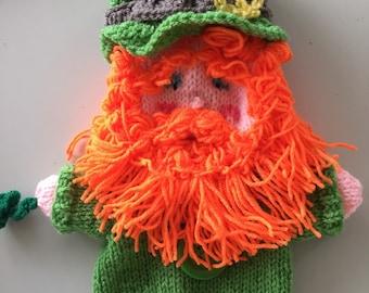 Leprechaun, st. Patrick's day puppet, handmade, Irish knitted decoration
