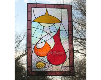Modern Stained Glass Window Panel Mod Kitchen Decor Red Purple Retro Handmade