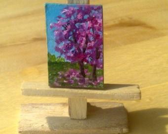 Miniature original oil painting, spring, FREE SHIPPING,miniature