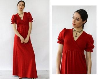 Puff Sleeve Maxi Dress • Long Knit Red Dress • Vintage Knit Maxi Dress • Vintage Knit Gown • Red Knit Maxi Dress • 70s Knit Dress • D1957