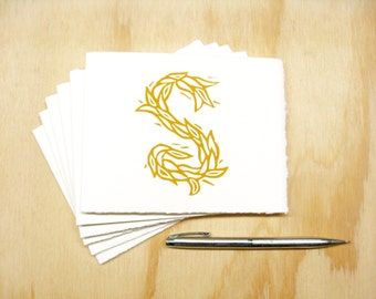 Letter S Stationery - Personalized Gift - Set of 6 Block Printed Cards