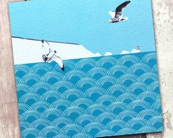 Lighthouse birthday card, card for beach lover, card for him, coastal art, seaside card, seagulls card, blue ocean, Britain sellers, waves