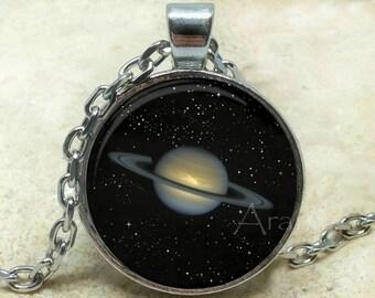 Planet Saturn art pendant, Saturn necklace, planet necklace, Saturn pendant, astronomy necklace, space jewelry, space, Pendant #SP191P