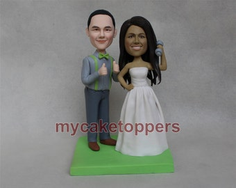 dumbbell wedding cake topper, custom made from your photos, personalized wedding cake toppers for wedding, funny cake topper