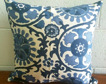 Exclusive Linen Blend Blue Grecian Mediterranean Inspired Design Cushion Pillow Cover by Peacock and Penny.  40cms x 40cms  One only.