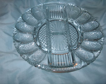 Antique Vintage Glass Egg Plate Platter