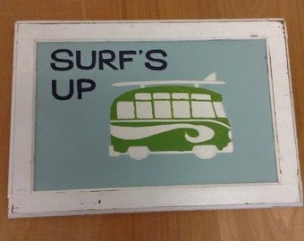 Naive Handpainted SURF painting in wood frame