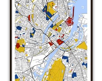 Copenhagen Map Art / Copenhagen, Denmark Wall Art / Print / Poster / Modern Home Decor